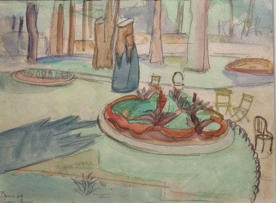 Jardin du Luxembourg_1 (Parijs, 1947), aquarel en Oost-Indische inkt, 29x36 cm
