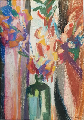 Bloemenvaas_1 (Den Haag, 1960), pastel, 35x25 cm