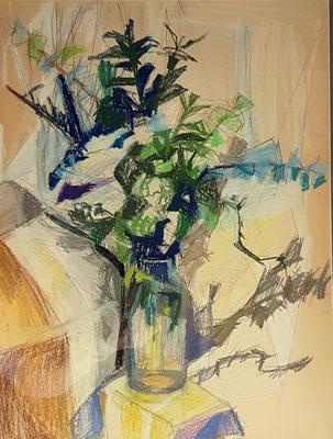 Bloemenvaas_4 (Den Haag, 1960), pastel, 49x36 cm