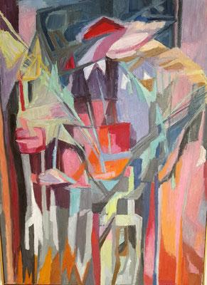 Compositie met Afrikaans masker (Den Haag, 1968) olieverf, 80x59 cm