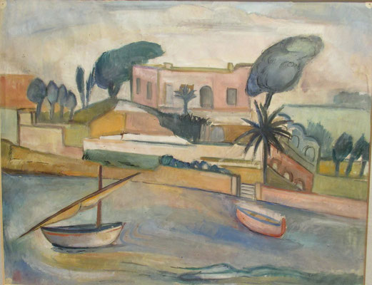 Brindisi, fishing port (1938), watercolor, 36x45 cm