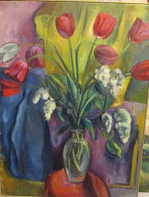 Boeket tulpen-2 (Den Haag, 1957), olieverf, 78x58 cm