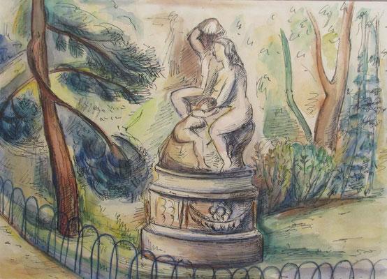Beeldengroep Adam et sa famillie (Jardin du Luxembourg,(Parijs, 1947), aquarel en Oost-Indische inkt, 24x32 cm