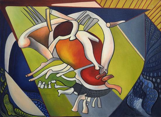 Composition (Parijs, 1939), olieverf, 72x99 cm. Dit werk is een grotere versie van La vie uit 1929,  ook zijn de kleuren helderder.