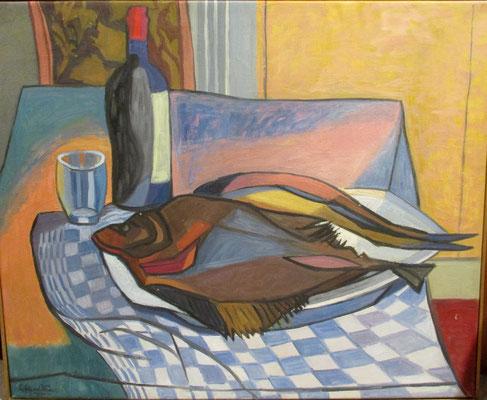 Stilleven met vissen_2 (Den Haag, 1960), olieverf, 59x72 cm
