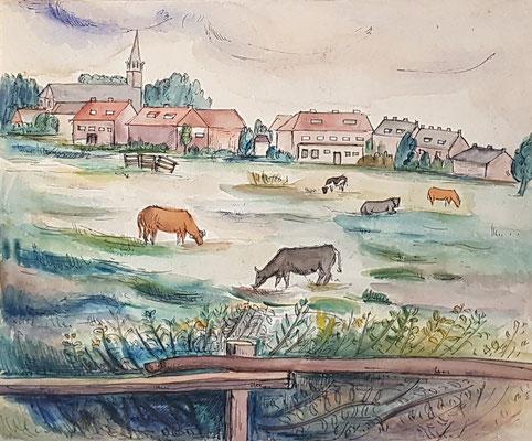 Weiland Betuwe_1 (Tiel, 1942), aquarel en Oost-Indische inkt, 33x39 cm