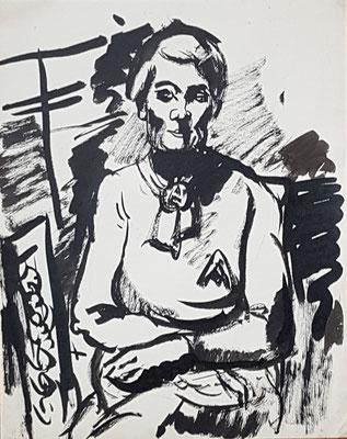Schets van maman (Den Haag, 1956), Oost-Indische inkt, 33x25 cm