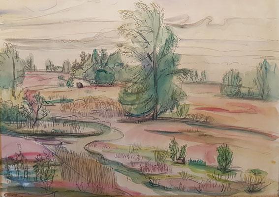 De Heide_1 (Laren, 1943), aquarel en Oost-Indische inkt, 25x35 cm