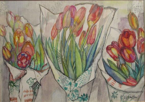 Verjaardag (Den Haag, 1964), aquarel, 28x39 cm