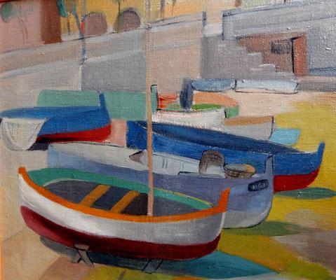 Bateaux à Villefranche-sur-Mer (vers 1933-1934), peinture à l'huile, 45x54 cm