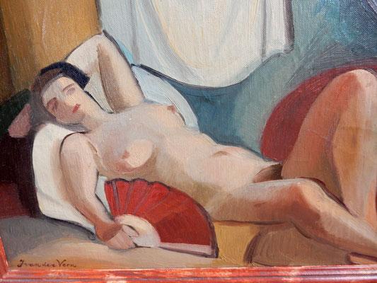 Nude with fan (Paris, ca. 1933-1934), oil paint, 32x44 cm