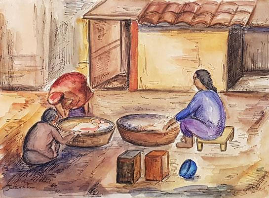 Achter het huis (Istanbul, 1937), aquarel en Oost-Indische inkt, 26x36 cm