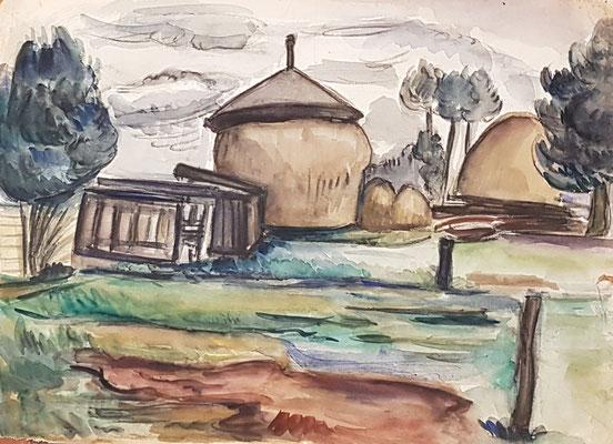 Boerderij_2 (Tiel, 1942), aquarel, 26x36 cm