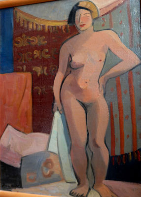 Nude with white towel (Paris, ca. 1933-1934), oil paint.