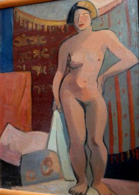 Nude with white towel (Paris, ca. 1933-1934), oil paint.