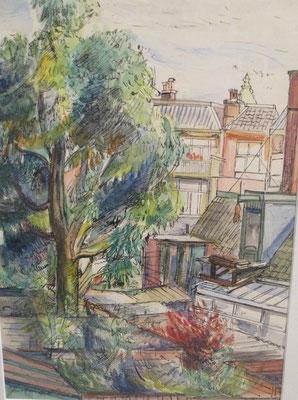 Jardin arrière Galileïstraat (La Haye, vers 1960), aquarelle et encre de Chine, 36x26 cm