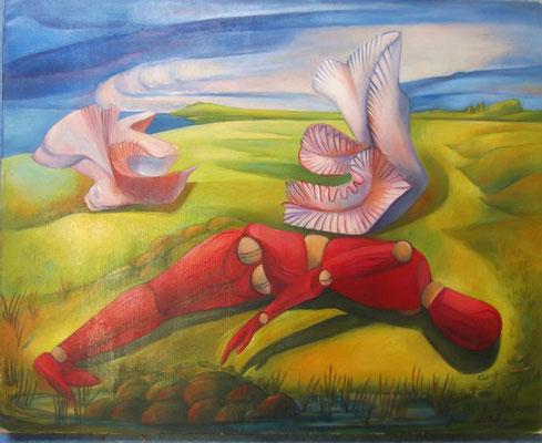 Solitude, peinture à l'huile, 66x80 cm