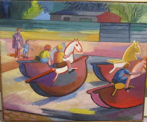 Hobbelpaardjes (Parijs, 1949), olieverf, 45x54 cm