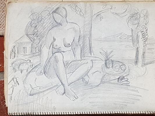 Etude pour Nue avec des moutons et un bol de fruits (Paris, vers 1933-1934), 24x32 cm
