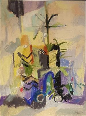 Bloemenvaas_2 (Den Haag, 1960), pastel, 49x36cm