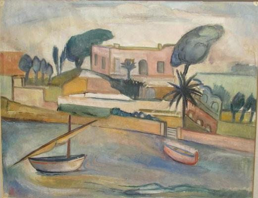 Vissershaven (Brindisi, 1937), aquarel, 36x45 cm. (Op weg naar Istanbul)