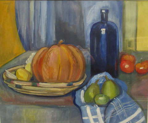Still life with melon, oil paint, 37x44 cm