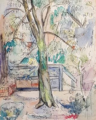 Galileïstraat (Den Haag, 1953), aquarel en Oost-Indische inkt, 31x24 cm