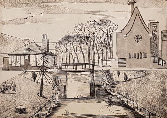 Kerk met meesjes (ca 1947), ets, 16x22 cm