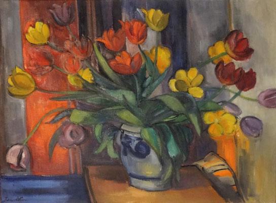 Boeket tulpen_1 (Den Haag, 1957), olieverf, 52x71 cm