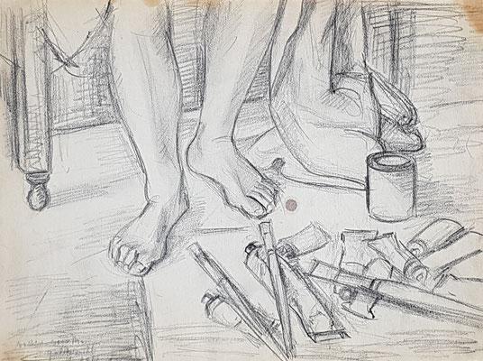 Voeten van maman (Den Haag, 1945), potlood, 26x36 cm
