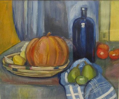 Nature morte au melon, peinture à l'huile, 37x44 cm