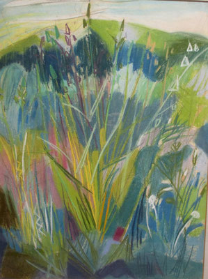 In het gras (Den Haag, 1967), pastel, 49x37 cm