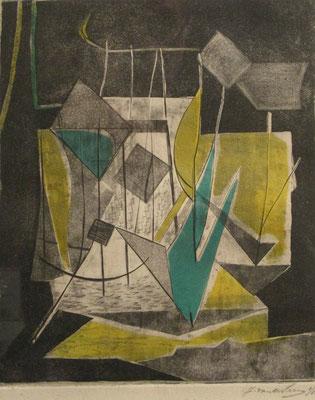 Stilleven, (Parijs, 1938), kleurets, 50x40 cm