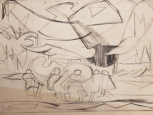 Salle d'exposition, (Parijs, 1938),  ets, 19x29 cm
