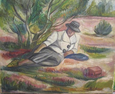Maman se répose (Laren, 1943), olieverf, 45x 55 cm