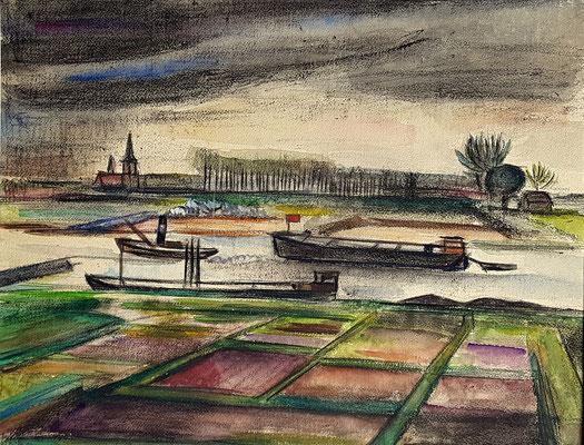 Zicht op de De Waal (Tiel, 1942), pastel, 38x45 cm. Op de achtergrond de Protestantse Kerk van Wamel.