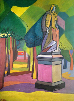 Standbeeld van Marie de Médicis (Jardin du Luxembourg, Parijs), olieverf, 81x60 cm