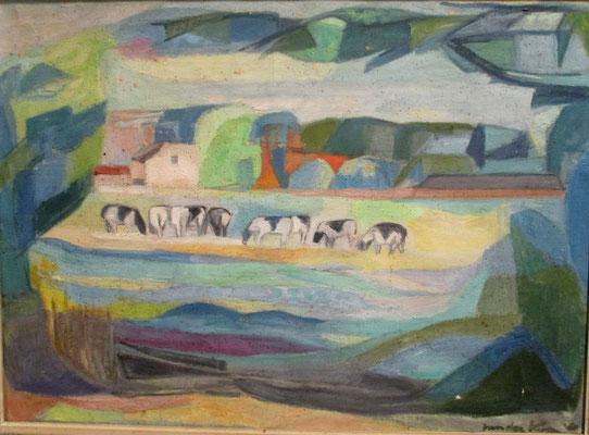 Koeien in de wei (Den Haag, 1960), olieverf, 53x72 cm