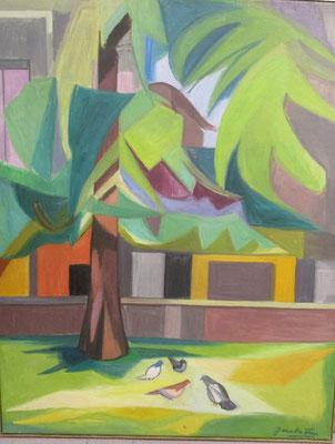Pigeons sous un arbre (La Haye, vers 1960), peinture à l'huile, 92x73 cm