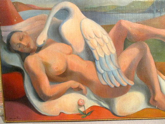 Leda and the swan (Paris, ca. 1932), oil paint, 54x73 cm