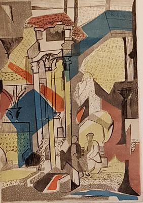 Plantsoen tegenover Deux Magots (Parijs, ca. 1953), kleurets, 28x19 cm