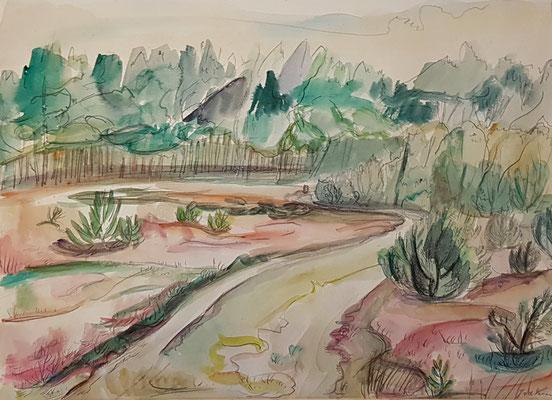 De Heide_2 (Laren, 1943), aquarel en Oost-Indische inkt, 25x35 cm