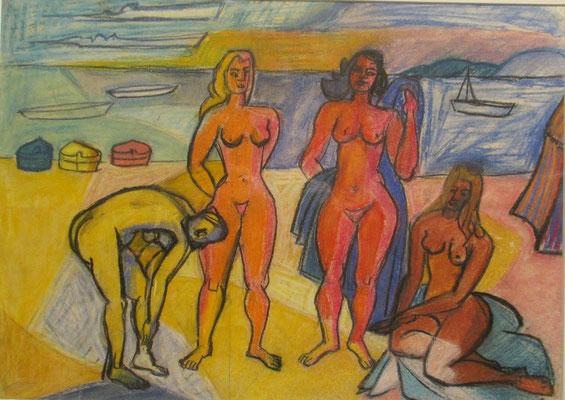 De baadsters (studie), (Den Haag, 1958) pastel, 35x50 cm
