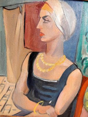 Lady avec foulard (vers 1933-1934), peinture à l'huile, 54x44 cm