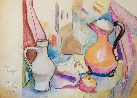 Lunchtijd (Parijs, 1947), pastel, 38x46 cm, bij André Lhote thuis