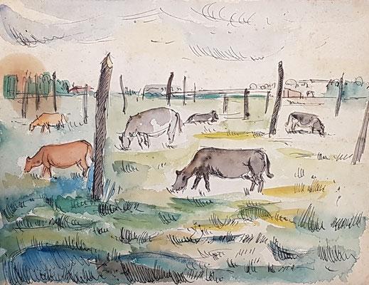 Weiland  Betuwe_2 (Tiel, 1942), aquarel en Oost-Indische inkt , 26x32 cm