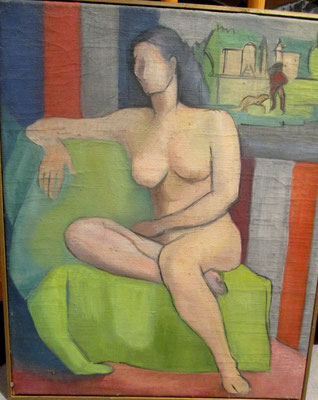 Nude on sofa (Paris, ca. 1937), oil paint, 46x37 cm