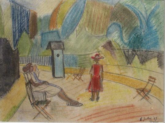Allée au soleil (Parijs, 1949), pastel, 24x30 cm
