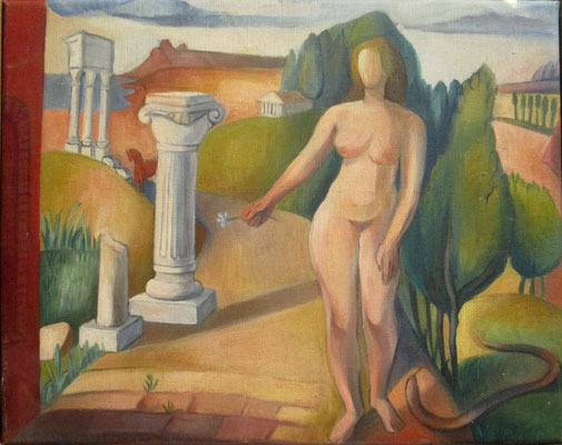 Eva (studie, Parijs, 1937), olieverf, 31x39 cm