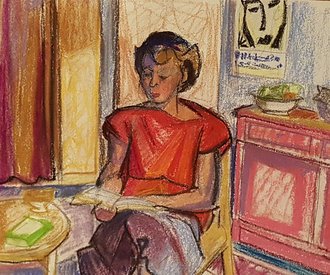 La voisine (Parijs, 1949), pastel, 33x42 cm